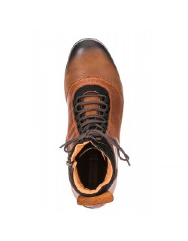 Стильные кожаные ботинки Cipo & Baxx CS118 BLACK CMOKED / TABACCO