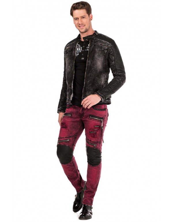 Брутальная дизайнерская джинсовая куртка Cipo & Baxx СJ236  BLACK