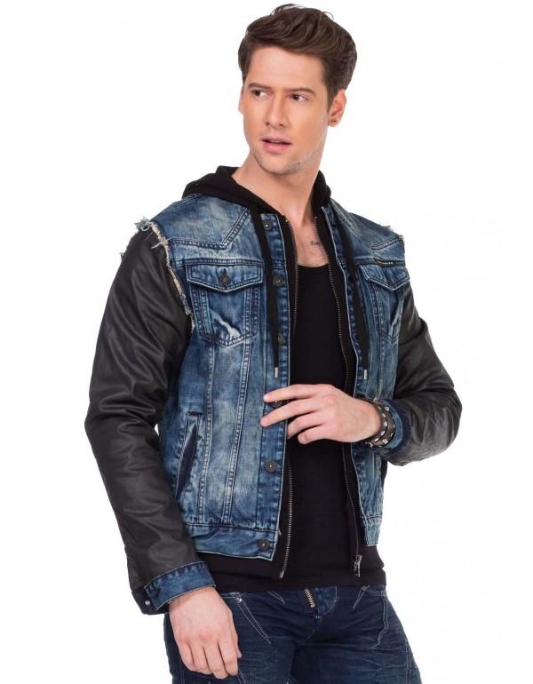 Брутальная джинсовая куртка Cipo & Baxx C1290 BLUE