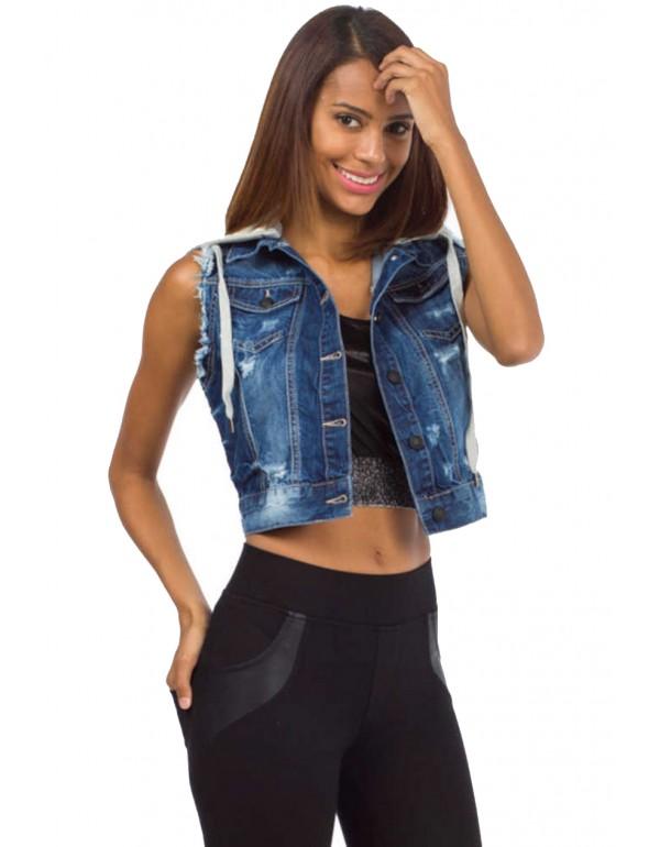 Дизайнерский брендовый джинсовый жилет Cipo & Baxx CBW012 STANDARD