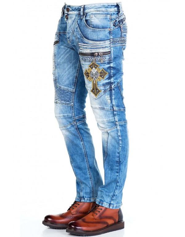 Брутальные дизайнерские джинсы Cipo & Baxx CD293 BLUE