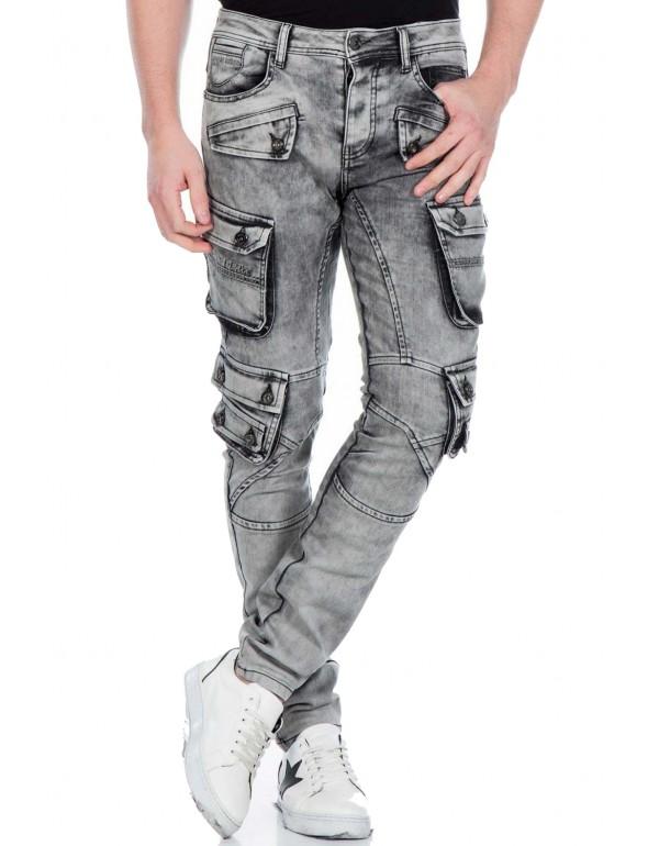 Брутальные дизайнерские брендовые джинсы Cipo & Baxx CD429 GREY