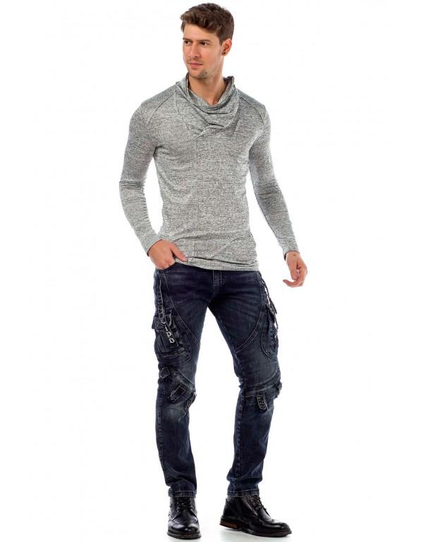 Брутальные дизайнерские джинсы Cipo & Baxx CD440 DARKBLUE