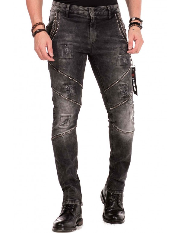 Брутальные дизайнерские джинсы Cipo & Baxx CD452 BLACK