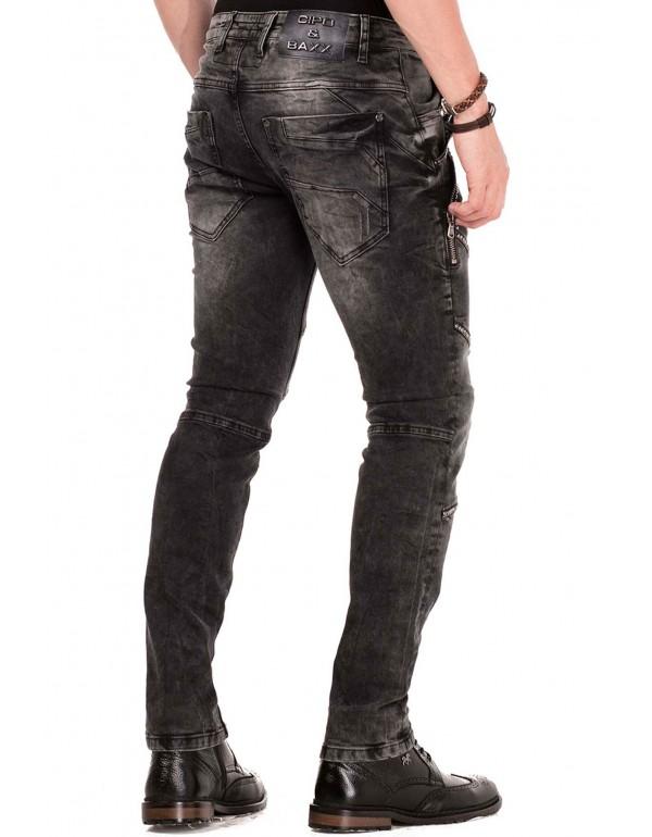 Мужские брендовые джинсы Cipo & Baxx CD452 BLACK