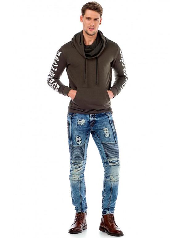 Брутальные дизайнерские джинсы Cipo & Baxx CD464 BLUE