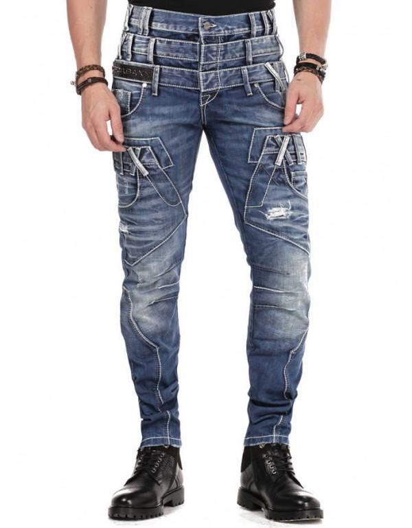 Брутальные дизайнерские джинсы Cipo & Baxx CD466 BLUE