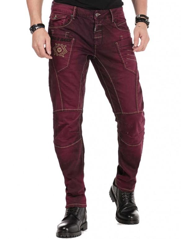 Брутальные дизайнерские джинсы Cipo & Baxx CD479 BURGUNDY