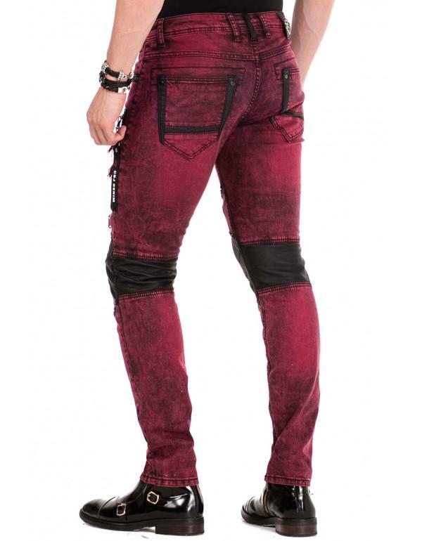 Брутальные дизайнерские джинсы Cipo & Baxx CD481 BURGUNDY