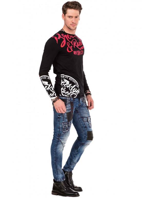 Брутальные дизайнерские джинсы Cipo & Baxx CD482 BLUE
