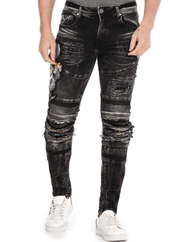Брутальные дизайнерские джинсы Cipo & Baxx CD486 BLACK