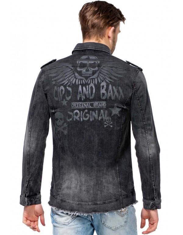 Брутальная дизайнерская джинсовая рубашка Cipo & Baxx CH137 BLACK
