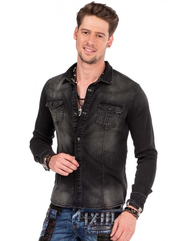 Брутальная дизайнерская джинсовая рубашка Cipo & Baxx CH148 BLACK