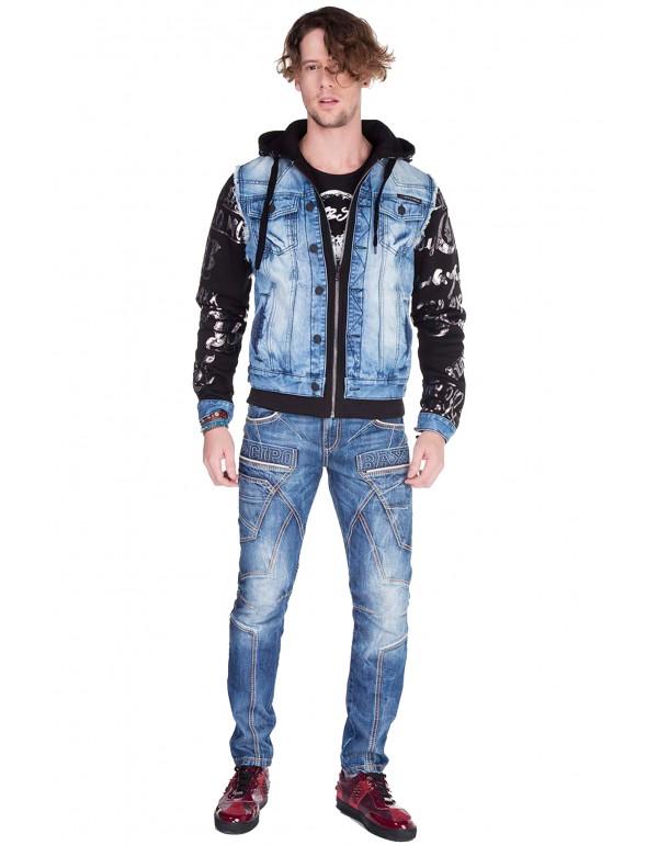 Брутальная дизайнерская джинсовая куртка Cipo & Baxx CJ181 BLUE