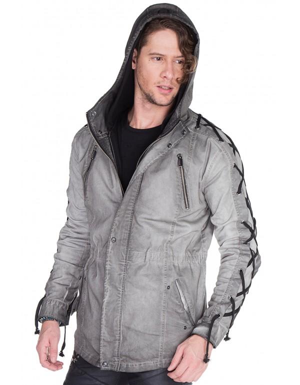 Брутальная дизайнерская куртка Cipo & Baxx CJ183 ANTHRACITЕ