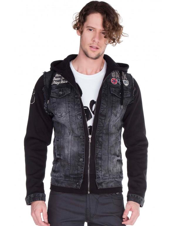 Брутальная дизайнерская джинсовая куртка Cipo & Baxx CJ185 BLAСK
