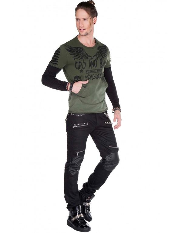 Брутальный дизайнерский свитшот Cipo & Baxx CL265 KHAKI