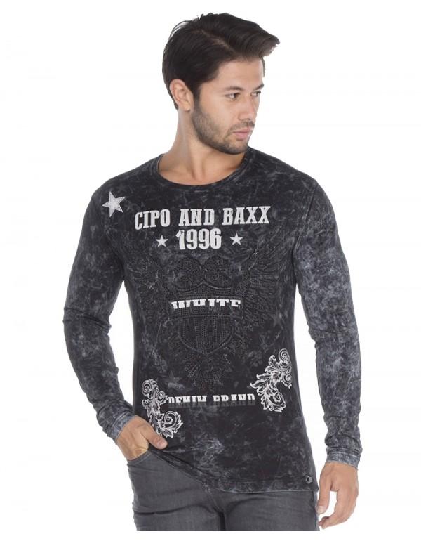 Брутальный дизайнерский лонгслив Cipo  & Baxx CL273 BLACK