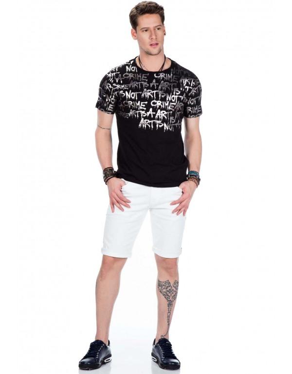Брутальная дизайнерская футболка Cipo & Baxx CT371 BLACK