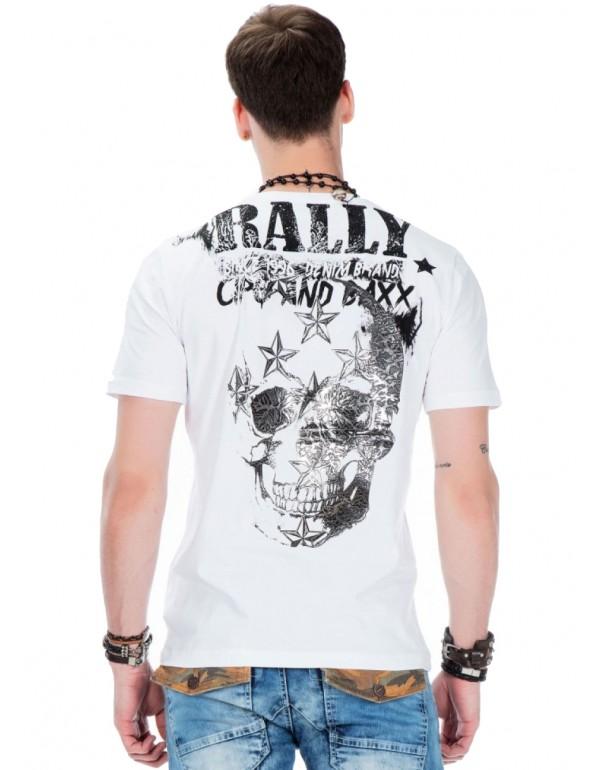 Брутальная дизайнерская футболка Cipo & Baxx CT374 WHITE