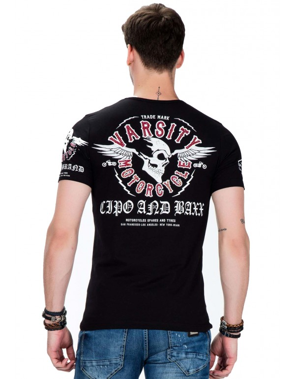 Брутальная дизайнерская футболка Cipo & Baxx CT375 BLACK