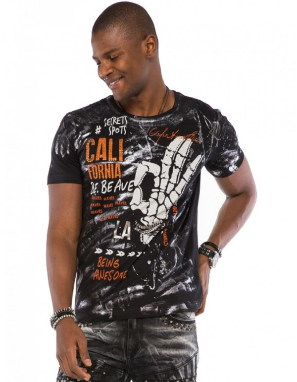 Брутальная дизайнерская футболка Cipo & Baxx CT491 BLACK