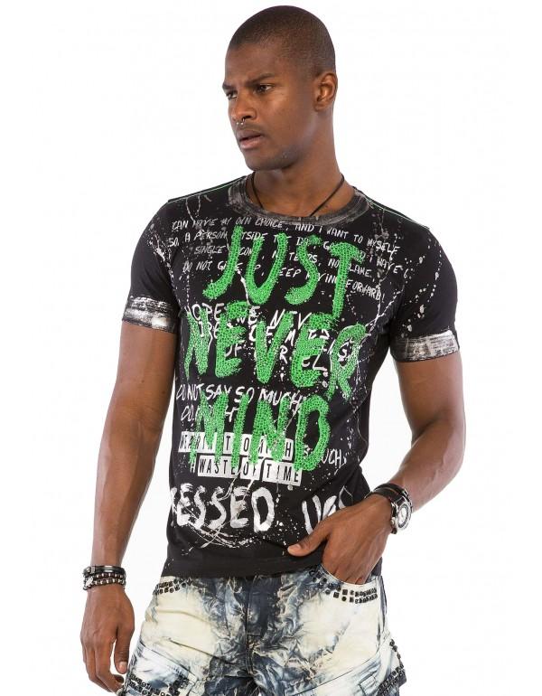 Брутальная дизайнерская футболка Cipo & Baxx CT507 BLACK