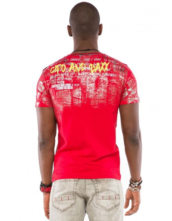 Брутальная дизайнерская футболка Cipo & Baxx CT507 RED