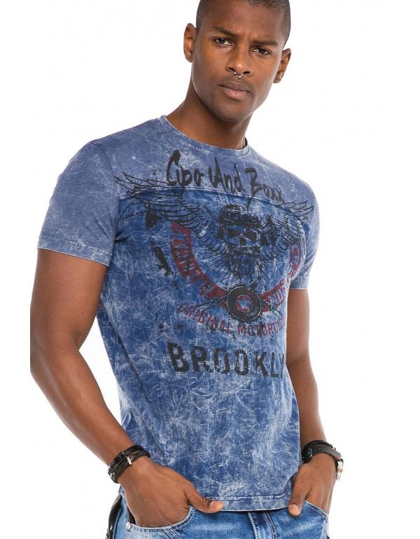 Брутальная дизайнерская футболка Cipo & Baxx CT508 INDIGO