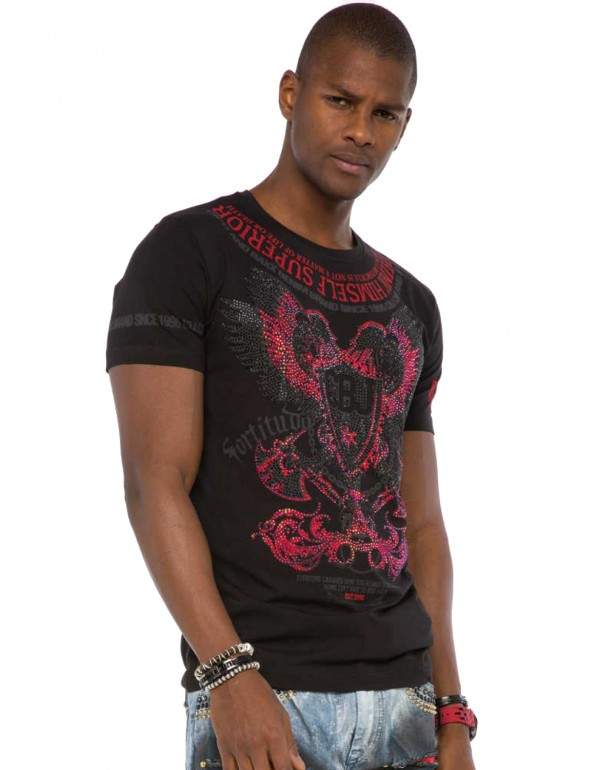 Брутальная дизайнерская футболка Cipo & Baxx CT510 BLACK