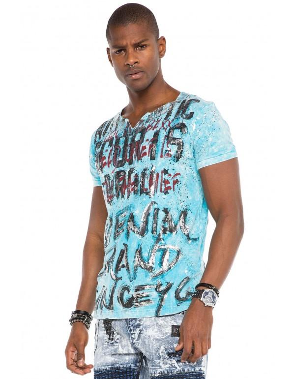 Брутальная дизайнерская футболка Cipo & Baxx CT514 BABYBLUE
