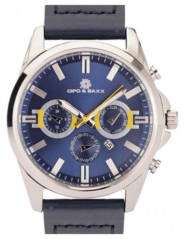 Брутальные наручные часы Cipo  & Baxx CZ108 NAVY SILVER