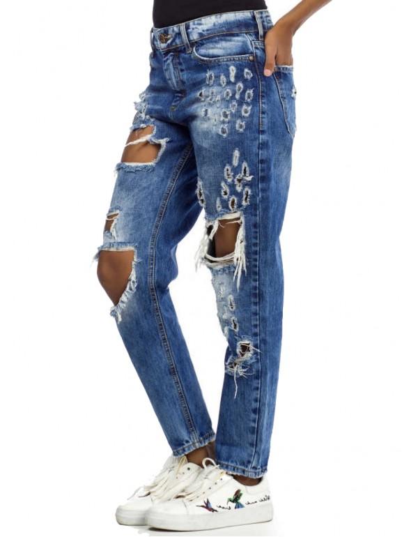 Дизайнерские брендовые джинсы бойфренды Cipo & Baxx WD335 BLUE