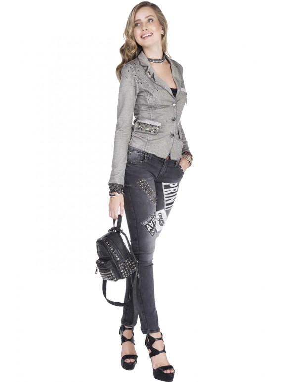 Дизайнерский брендовый пиджак Cipo & Baxx WJ135  GREY