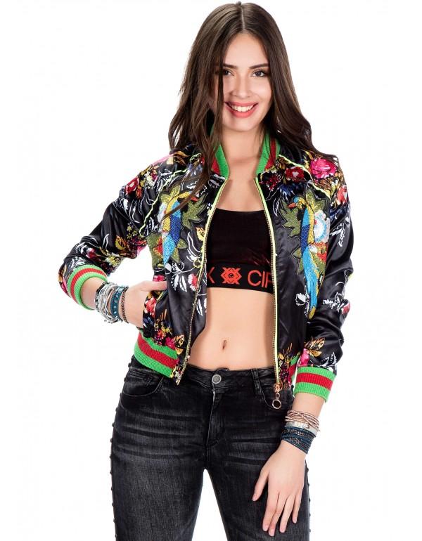 Брендовая женская куртка Бомбер Cipo & Baxx WJ138 BLACK в наличии