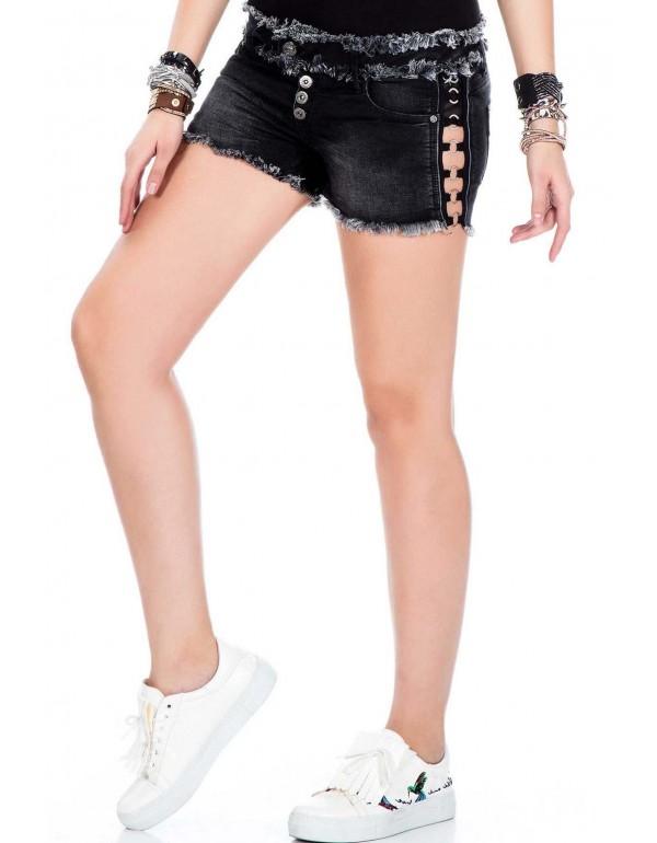 Дизайнерские джинсовые шорты Cipo & Baxx WK133 BLACK