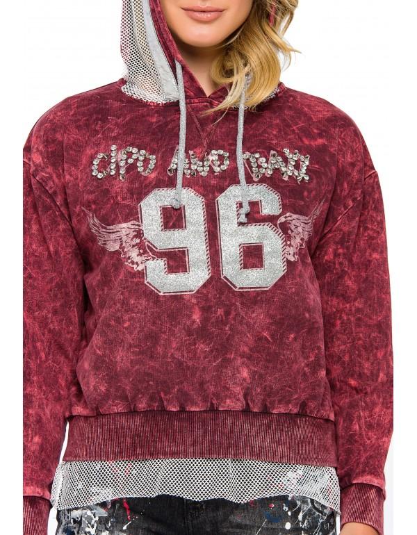 Дизайнерская брендовая толстовка Cipo & Baxx WL207 BURGUNDY
