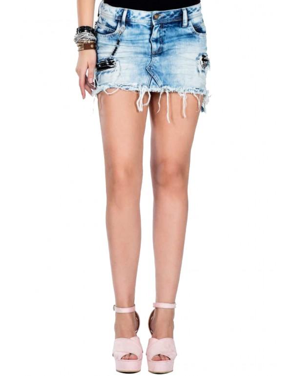 Дизайнерская джинсовая юбка Cipo & Baxx WY115 ICE BLUE